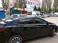 Ветровики с хромом, дефлекторы окон Hyundai Accent 2010-> (Hic), фото 1