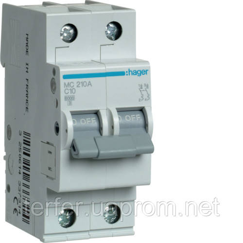 Автоматичний вимикач 2P 6kA C-10A 2M  MC210A Hager