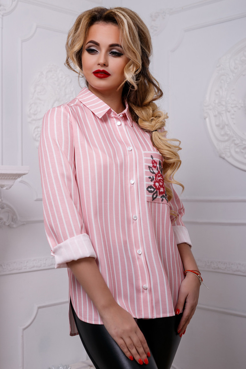 0feacd45a917195 Женская рубашка из льна в полоску, с вышивкой, розовая, размеры от 44 до