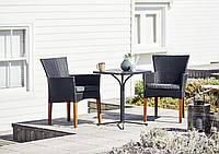 Комплект садовой плетеной мебели черной (2 кресла + слол квадратный)