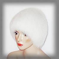 Белая женская шапка из песца