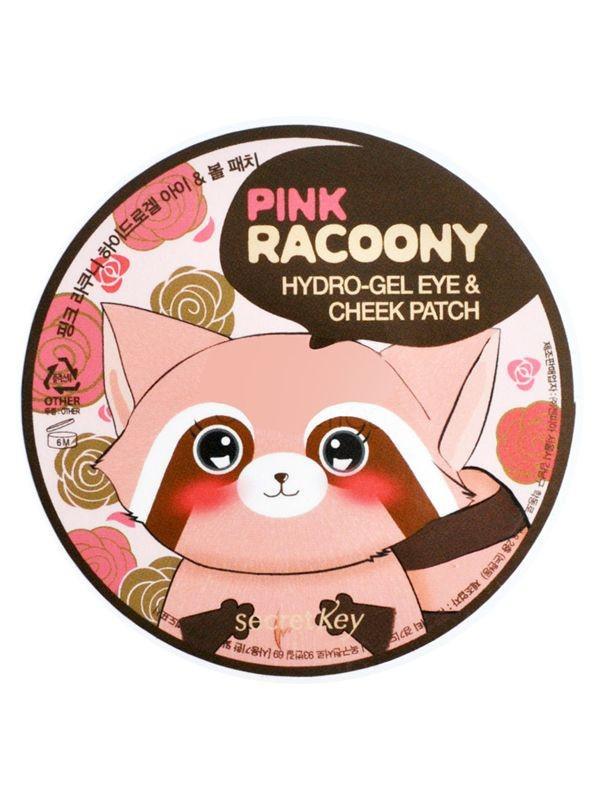 Патчи для глаз с розовой водой и золотом Secret Key Pink Racoony Hydro Gel Eye & Cheek Patch - 60 шт.