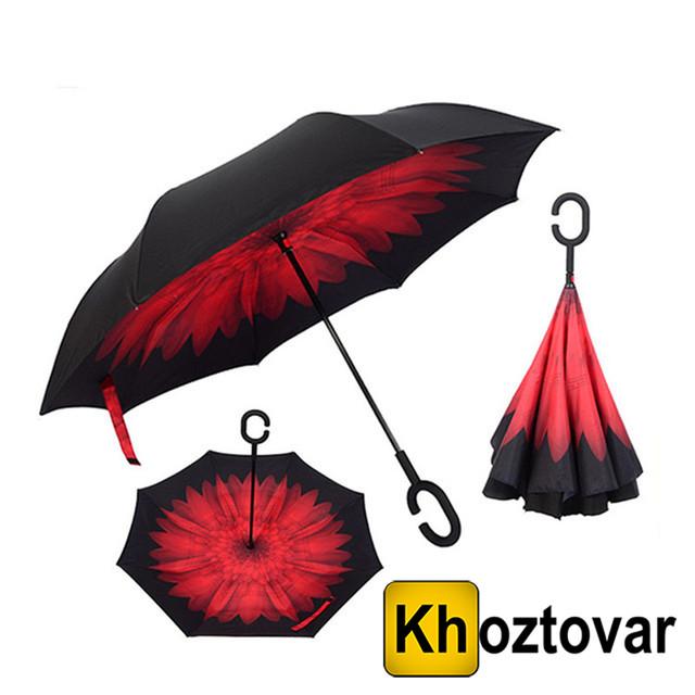 Ветрозащитный зонт Up-Brella Красный цветок
