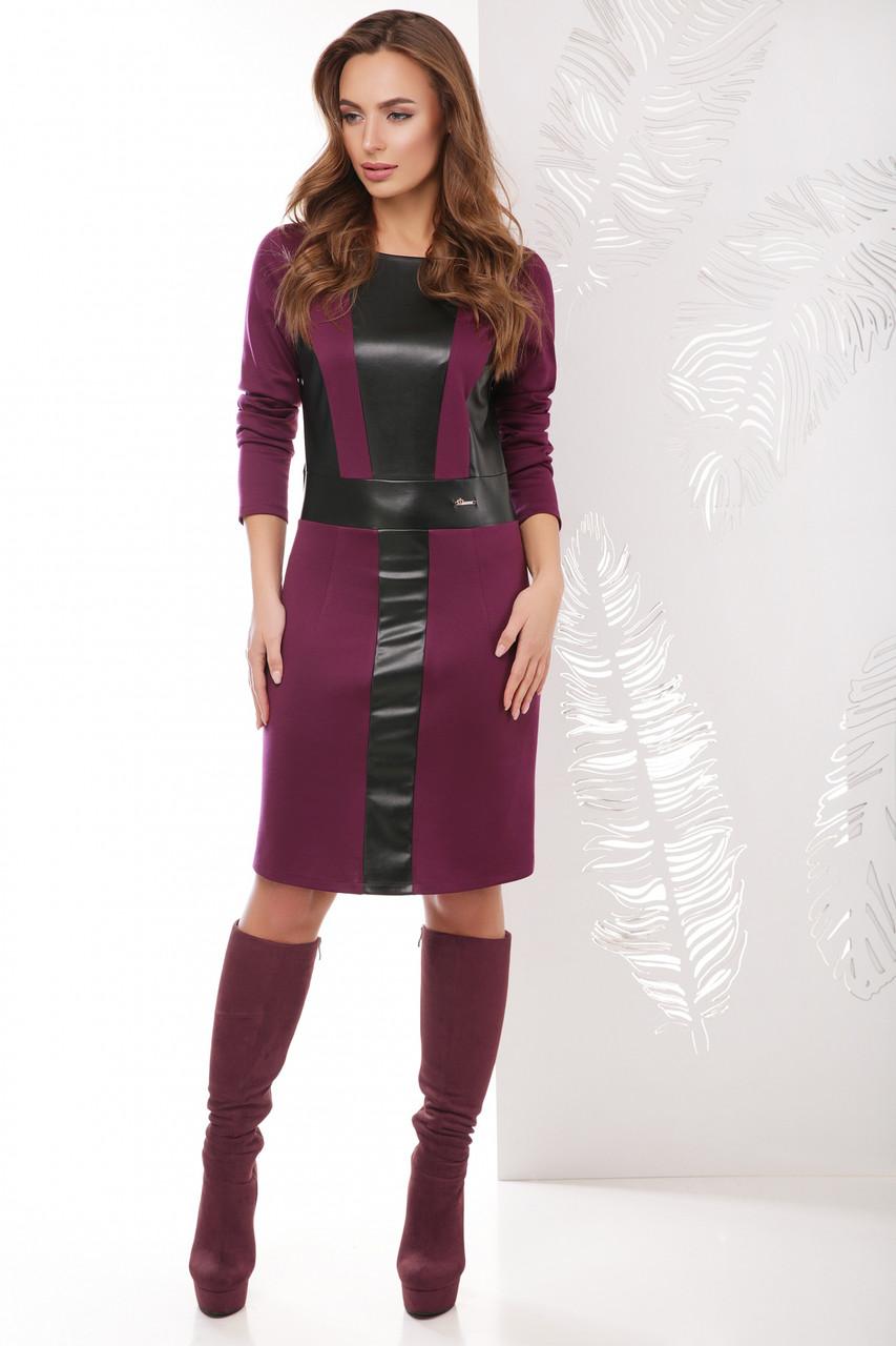 Женское прямое приталенное платье с отделкой из эко-кожи спереди с длинными рукавами, баклажановое