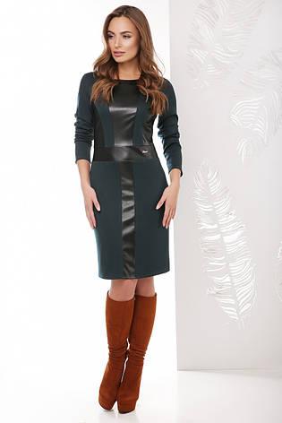 bd2411de02c Женское прямое приталенное платье с отделкой из эко-кожи спереди с длинными  рукавами