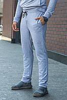 Мужские спортивные брюки простые однотонные на резинке и шнурке серые