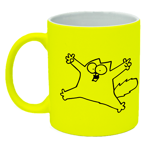 Неоновая матовая чашка c котом саймона, ярко-желтая