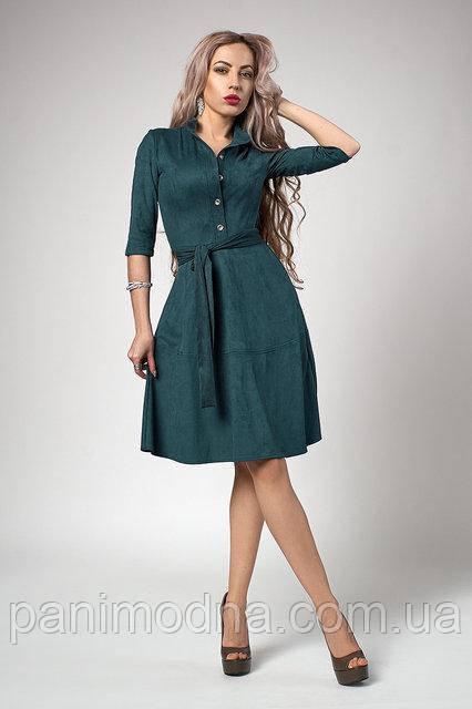 Замшевое платье с поясом Изумрудного цвета. Новинка