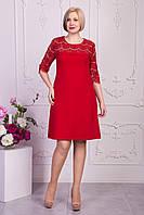 Яркое красное платье для торжества с рукавчиком в размерах 50,52,54