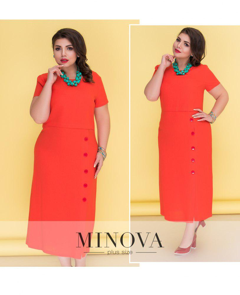 8ce36cd249b Лаконичное летнее платье прямого кроя с короткими рукавами от ТМ Minova р.  50-58