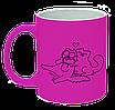 Неоновая матовая чашка c котом саймона любовь, ярко-розовая