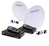 Комплект для сутникового ТВ на 4 спутника для 2-х ТВ «Украина+Россия» SD2
