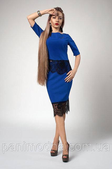 Модный Костюм Блуза+Юбка  с кружевом. Брошка в подарок