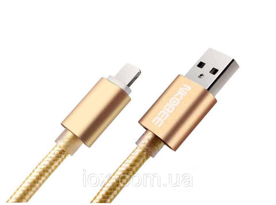 Плетеный золотой USB кабель Nkobee  для Apple Iphone 5, 5s, 6, 6s, 6 Plus