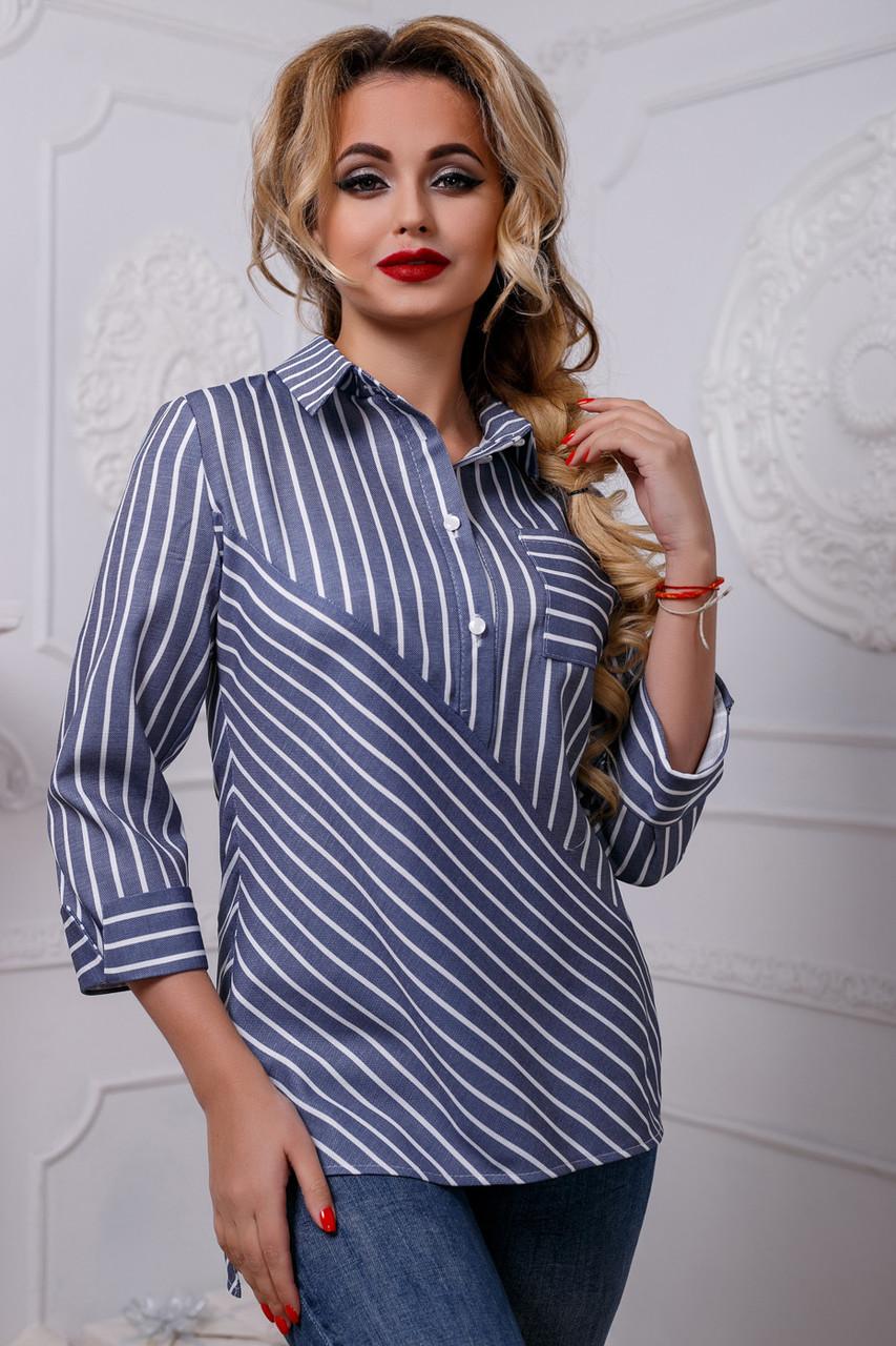 37fd450315f8 Женская рубашка из льна в полоску, тёмно-синяя, размеры 42, 44