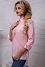 Женская хлопковая рубашка в полоску розовая, фото 3