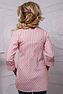 Женская хлопковая рубашка в полоску розовая, фото 4
