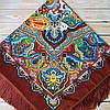 Женский платок с узорами  (135х135см, 80%-шерсть)