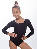 Купальник для танцев взрослый черный (рост 152см - 176см) с длинным рукавом из блестящего эластика
