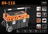 Ящик инструментальный на колесах, пластмассовый 68x40x35.5 см, NEO 84-116