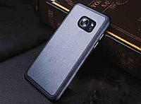 Черный силиконовый чехол с кожанной накладкой  для Samsung Galaxy S7, фото 1