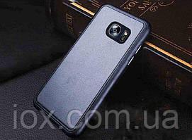 Черный силиконовый чехол с кожанной накладкой для Samsung Galaxy S7edge