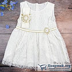 Платье без рукавов и повязка для новорождённых Размеры: 68 и 74 см (6204)