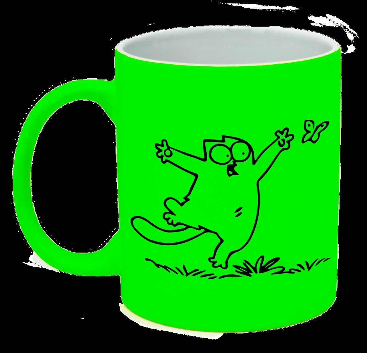 """Неоновая матовая чашка c """"Кот Саймона с бабочкой"""", ярко-зеленая"""