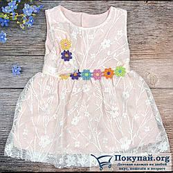Розовое платье и повязка с цветочками Размеры: 68 и 74 см (6208)