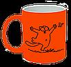 """Неоновая матовая чашка c """"Кот Саймона с бабочкой"""", ярко-оранжевая"""
