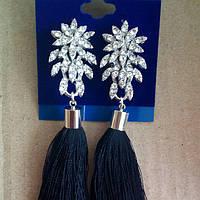 Серьги кисточки, удлиненные шелковые кисти под серебро черные ,  высота 11 см.