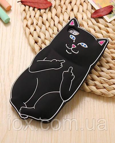 Черный мягкий силиконовый чехол Наглый Дерзкий кот с факом для Iphone 5/5S