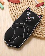 Черный мягкий силиконовый чехол Наглый Дерзкий кот с факом для Iphone 5/5S, фото 1