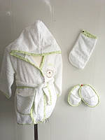 Халат малыш 0-2 года с варежкой мочалкой и тапочками