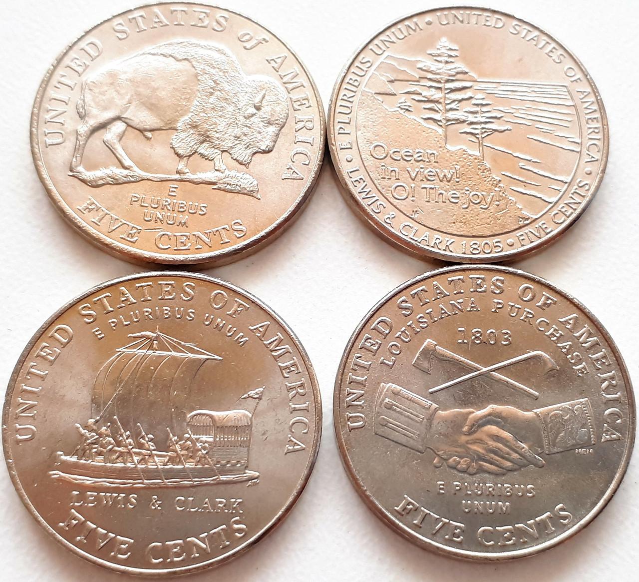 США набор из 4-х монет. В честь 200 лет экспедиции Льюиса и Кларка