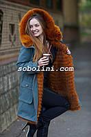 Парка с мехом шикарной  лисы огневки,внутри мех лисы в роспуск, длина 85см, фото 1