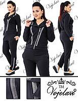 Женский черный спортивный костюм большого размера пр-во Украина 020G