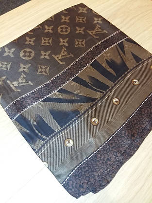 Платок Louis Vuitton шелк коричневый монограмм, фото 3