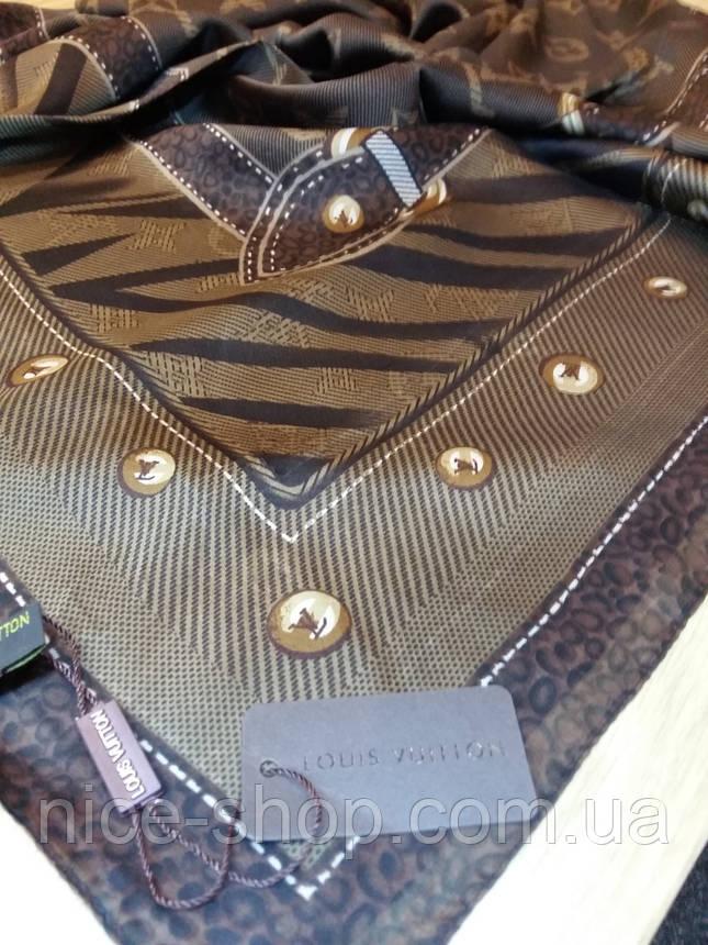 Платок Louis Vuitton шелк коричневый монограмм, фото 2