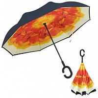 Умный зонт обратного сложения UP-BRELLA - Оранжевый