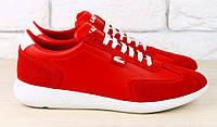 Кроссовки кожаные Lacoste красные