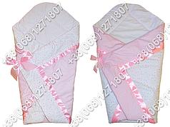 Летний конверт одеяло на выписку для новорожденного Розовые полоски
