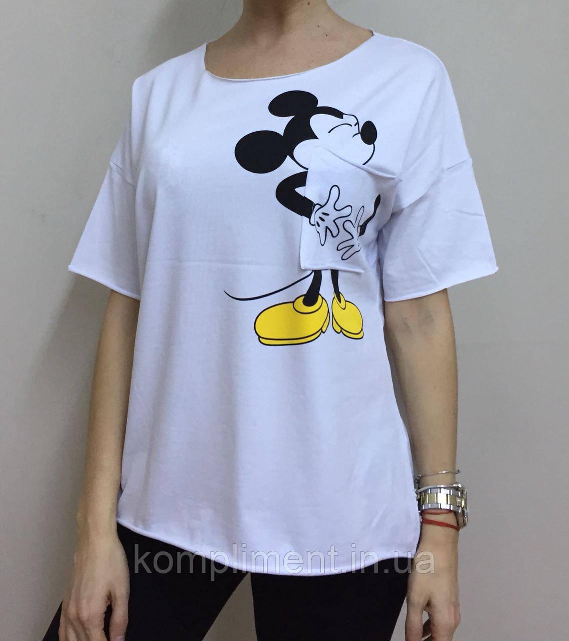 Летняя женская турецкая футболка с веселым мышонком белая