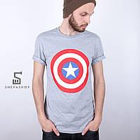 Футболка мужская Liberty - Captain America's shield, серая