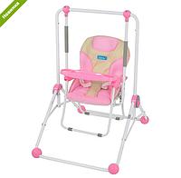 Детская напольная качели+стульчик NA 02 A 20, розовая ***
