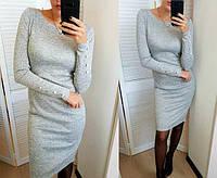 Женское теплое платье из ангоры Перрис миди / размер 42,44,46,48 цвет серый