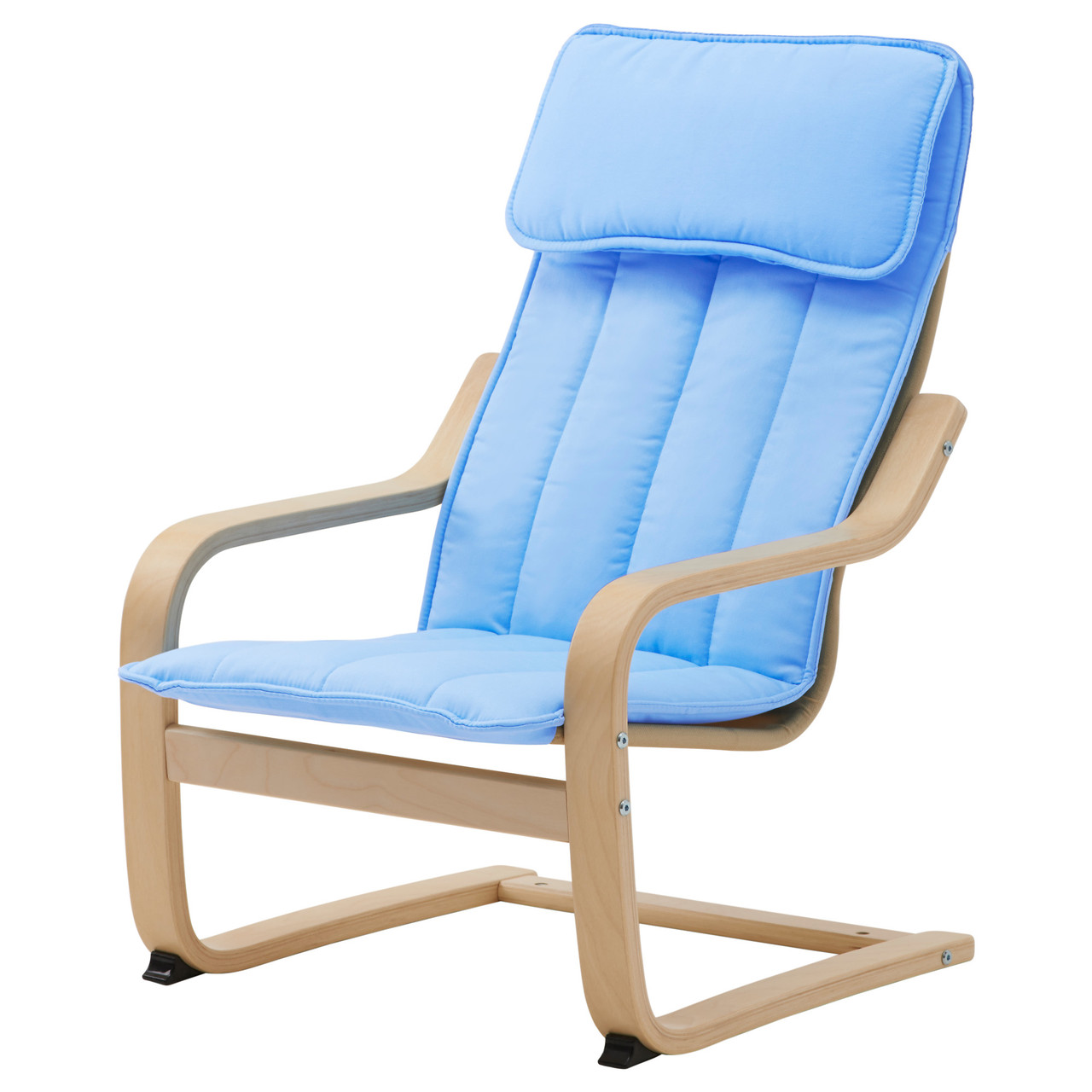 ПОЭНГ  Кресло детское - березовый шпон/Алмос, голубой 10299392 IKEA, ИКЕА, POÄNG