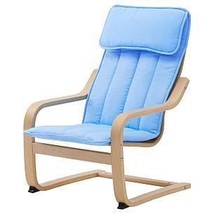 ПОЭНГ  Кресло детское - березовый шпон/Алмос, голубой 10299392 IKEA, ИКЕА, POÄNG, фото 2