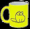"""Неоновая матовая чашка c """"Кот Саймона сидит"""", ярко-желтая"""