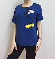 Летняя женская турецкая футболка с веселым мышонком синяя